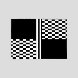 Black and white striped check 5'x7'Area Rug