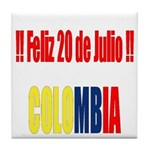 20 Julio Colombian day Tile Coaster