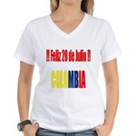20 Julio Colombian day Women's V-Neck T-Shirt