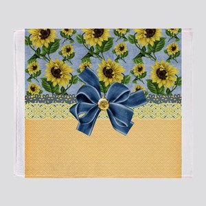 Country Sunflowers Throw Blanket
