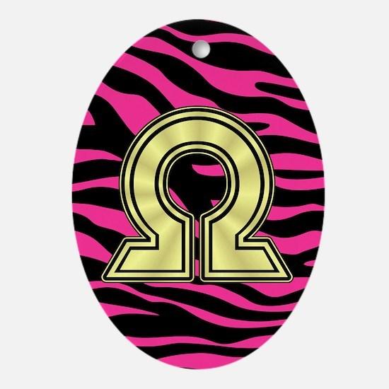 HOT PINK ZEBRA GOLD OMEGA Ornament (Oval)