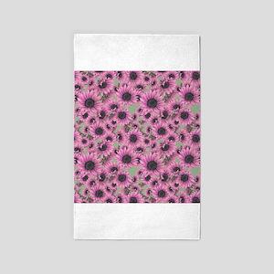 Pink Sunflowers 3'x5' Area Rug