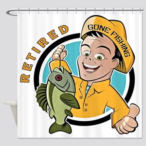 Retired - Gone Fishing Shower Curtain