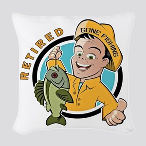 Retired - Gone Fishing Woven Throw Pillow
