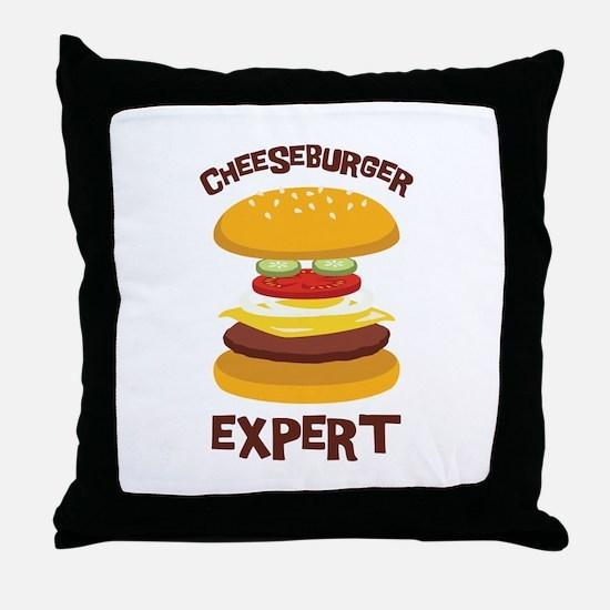 CHEESEBURGER EXPERT Throw Pillow