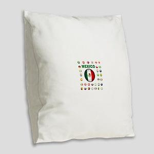 Mexico soccer Burlap Throw Pillow