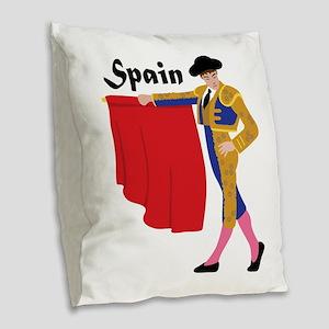 Spain Burlap Throw Pillow