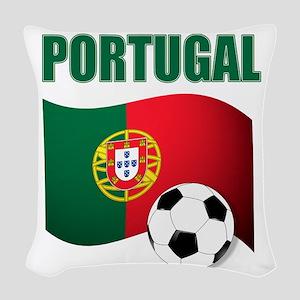 Portugal futebol soccer Woven Throw Pillow