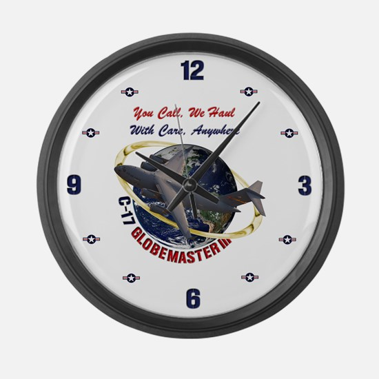 C-17 You Call, We Haul Large Wall Clock