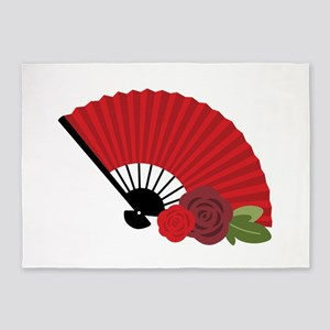 Spanish Asian Flamenco Folding Fan 5'x7'Area Rug