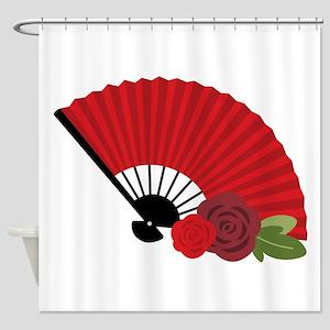 Spanish Asian Flamenco Folding Fan Shower Curtain
