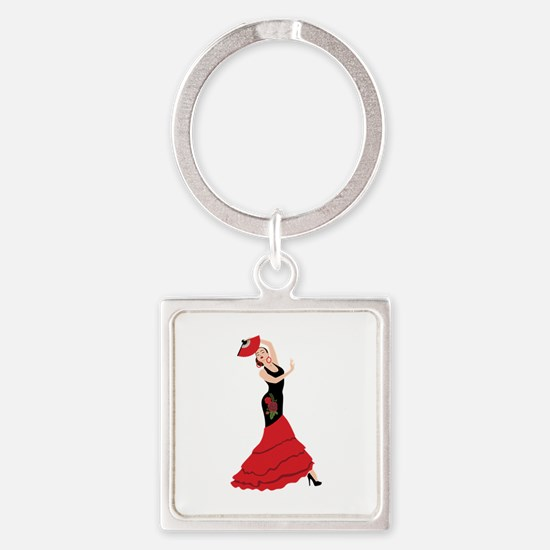 Spanish Flamenco Dancing Woman Keychains