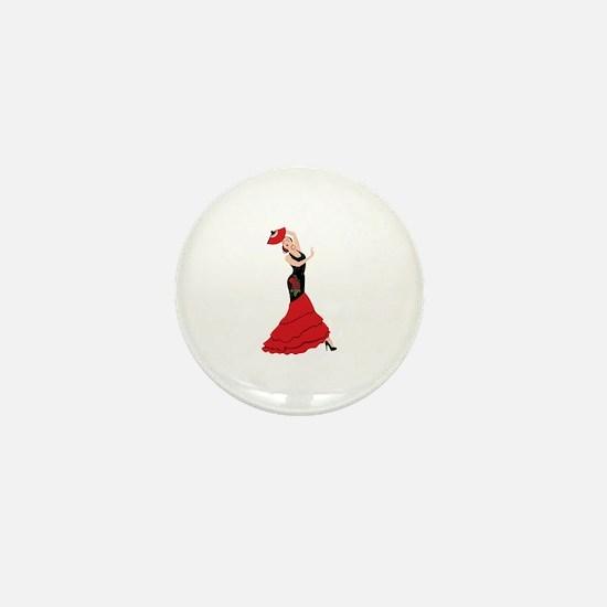 Spanish Flamenco Dancing Woman Mini Button