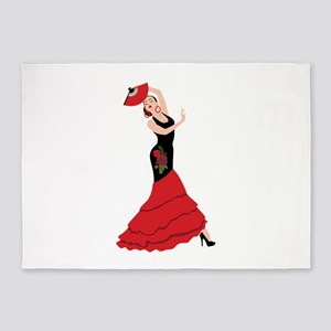 Spanish Flamenco Dancing Woman 5'x7'Area Rug