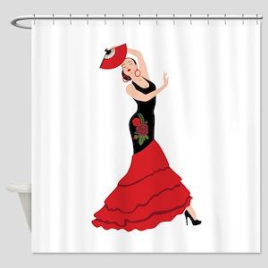 Spanish Flamenco Dancing Woman Shower Curtain