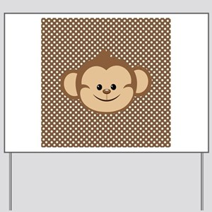 Monkey on Brown and White Polka Dots Yard Sign
