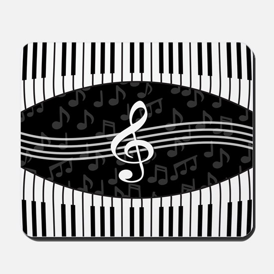 Stylish designer piano and music notes Mousepad