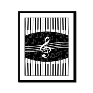 Stylish designer piano and music notes Framed Pane