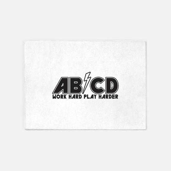 Work Hard Play Harder 5'x7'Area Rug