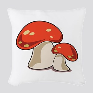 Mushrooms Woven Throw Pillow