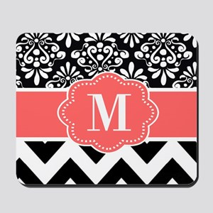 Black Coral Chevron Monogram Mousepad