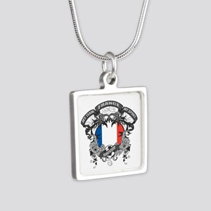France Soccer Silver Square Necklace