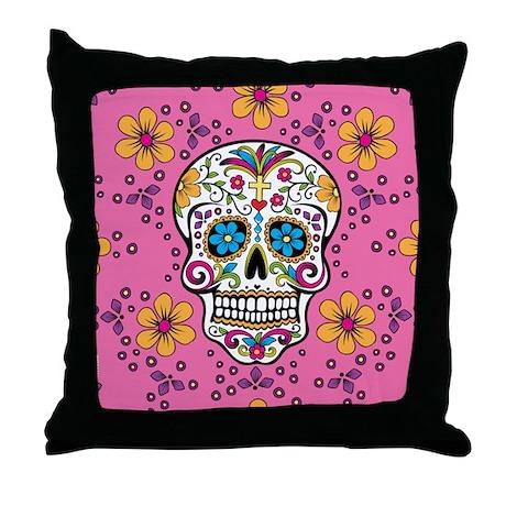 Sugar Skull PINK Throw Pillow
