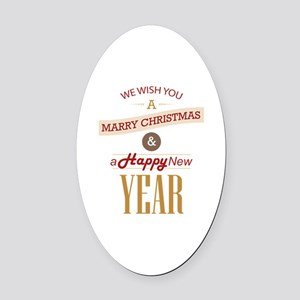 WE WISH YOU A MARRY CHRISTMAS Oval Car Magnet