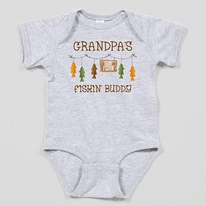 Gone Fishing Line Grandpa Baby Bodysuit