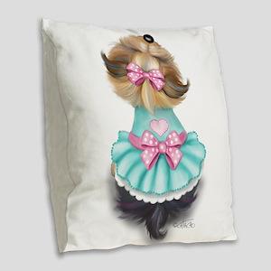 Miss pretty Burlap Throw Pillow
