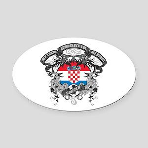 Croatia Soccer Oval Car Magnet