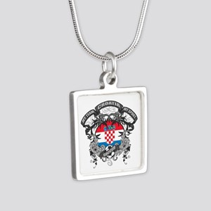 Croatia Soccer Silver Square Necklace