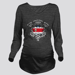 Costa Rica Soccer Long Sleeve Maternity T-Shirt