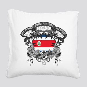 Costa Rica Soccer Square Canvas Pillow