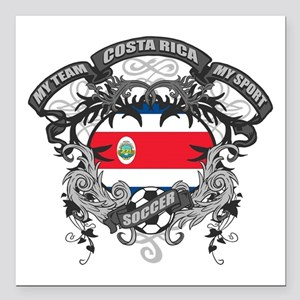 "Costa Rica Soccer Square Car Magnet 3"" x 3"""