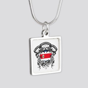 Costa Rica Soccer Silver Square Necklace