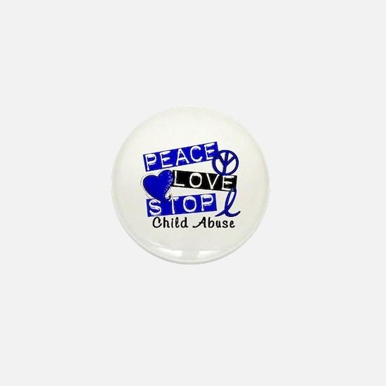 Peace Love Stop Child Abuse 1 Mini Button