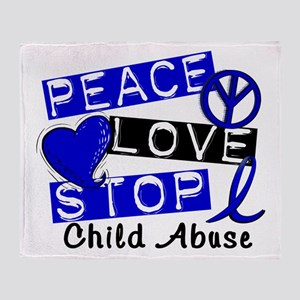 Peace Love Stop Child Abuse 1 Throw Blanket