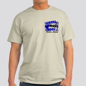 Peace Love Stop Child Abuse 1 Light T-Shirt