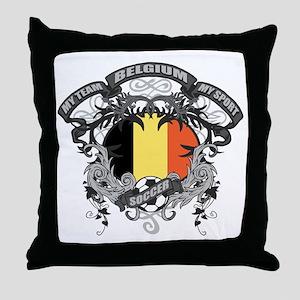 Belgium Soccer Throw Pillow