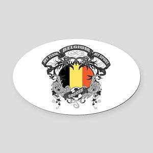 Belgium Soccer Oval Car Magnet