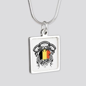 Belgium Soccer Silver Square Necklace