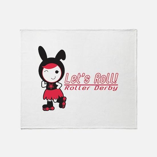 Let's Roll! Roller Derby Throw Blanket