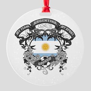 Argentina Soccer Round Ornament