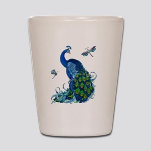 Blue Peacock and Dragonflies Shot Glass