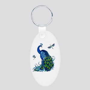 Blue Peacock and Dragonflie Aluminum Oval Keychain