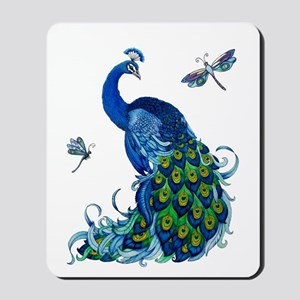 Blue Peacock and Dragonflies Mousepad