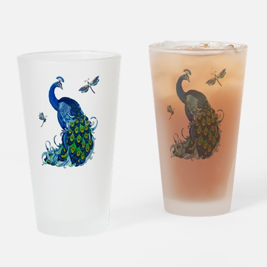 Blue Peacock and Dragonflies Drinking Glass