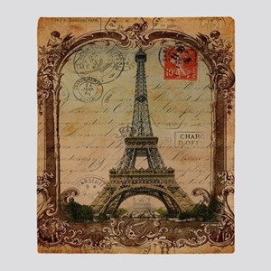 vintage scripts postage paris eiffel Throw Blanket