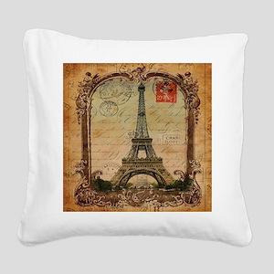 vintage scripts postage paris Square Canvas Pillow